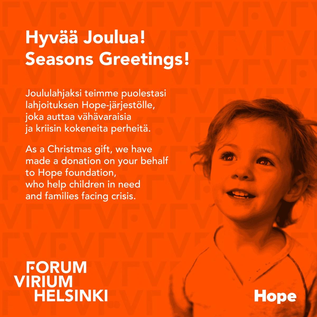 Joulukortti Hope-järjestö Forum Virium Helsinki