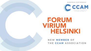 Logo of CCAM and text 'Forum Virium Helsinki, new member of the CCAM Association